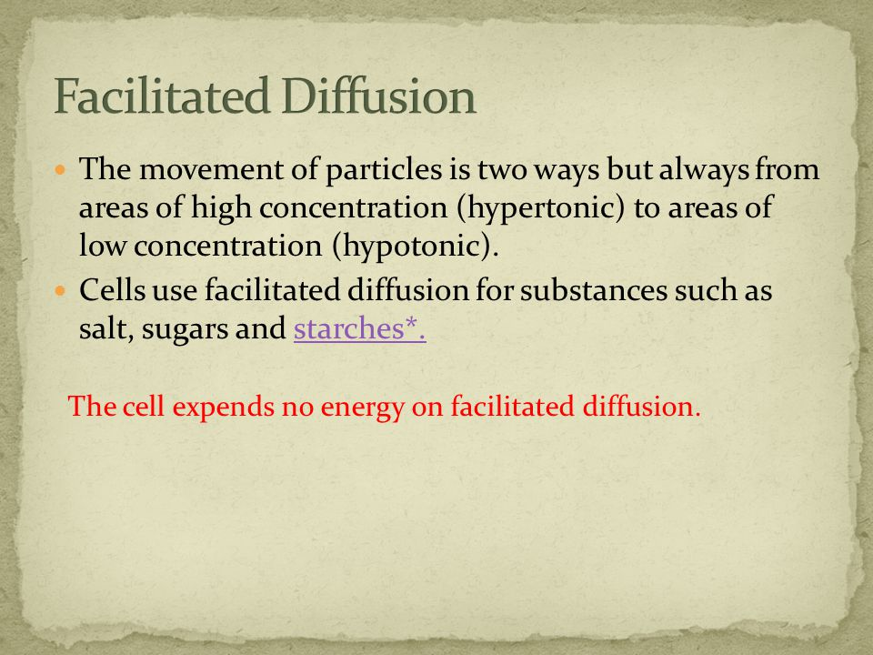 The movement of particles is two ways but always from areas of high concentration (hypertonic) to areas of low concentration (hypotonic).
