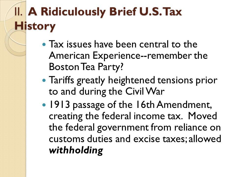 II. A Ridiculously Brief U.S.
