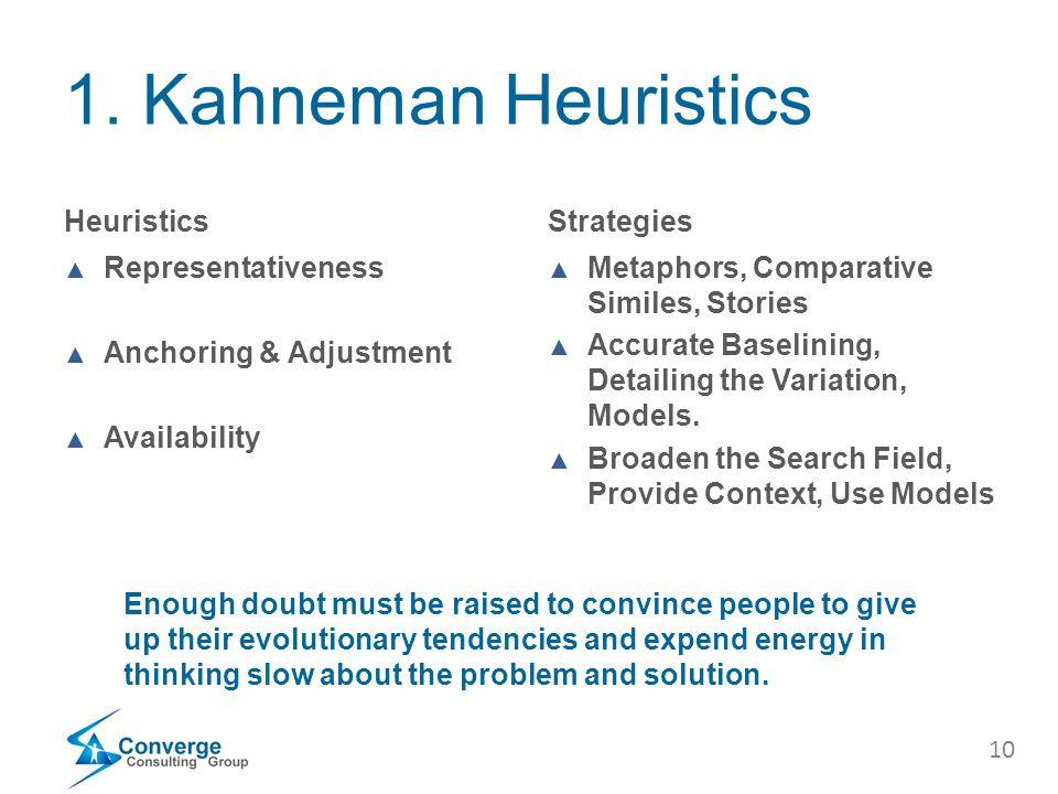 10 1. Kahneman Heuristics Heuristics ▲ Representativeness ▲ Anchoring & Adjustment ▲ Availability Strategies ▲ Metaphors, Comparative Similes, Stories