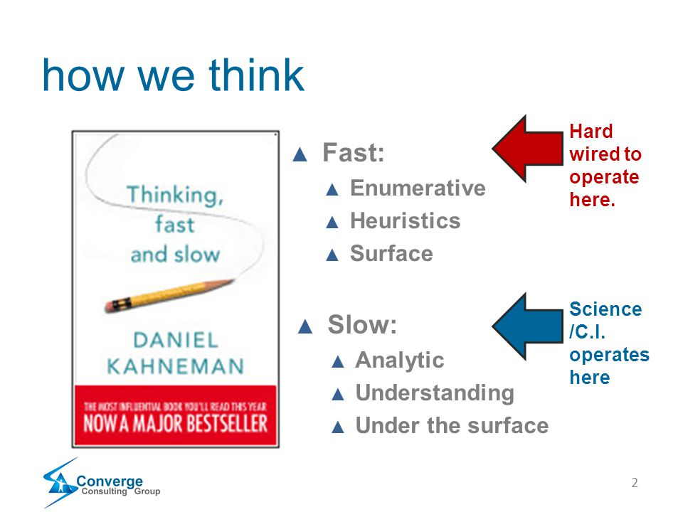 2 how we think ▲ Fast: ▲ Enumerative ▲ Heuristics ▲ Surface ▲ Slow: ▲ Analytic ▲ Understanding ▲ Under the surface Hard wired to operate here. Science