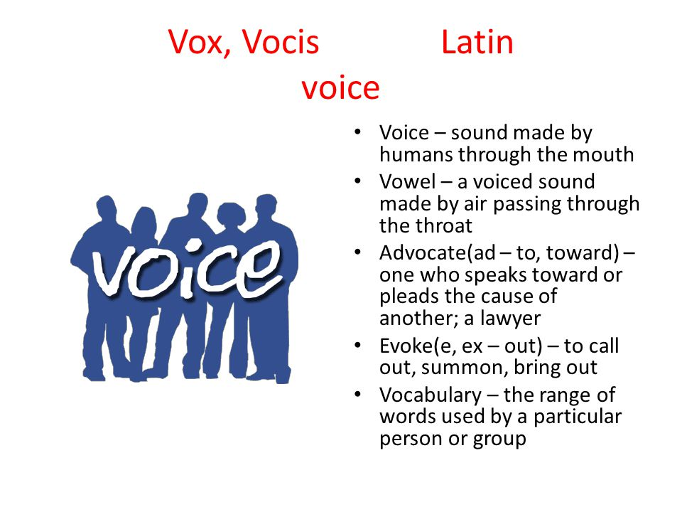 Vox, VocisLatin voice Voice – sound made by humans through the mouth Vowel – a voiced sound made by air passing through the throat Advocate(ad – to, toward) – one who speaks toward or pleads the cause of another; a lawyer Evoke(e, ex – out) – to call out, summon, bring out Vocabulary – the range of words used by a particular person or group