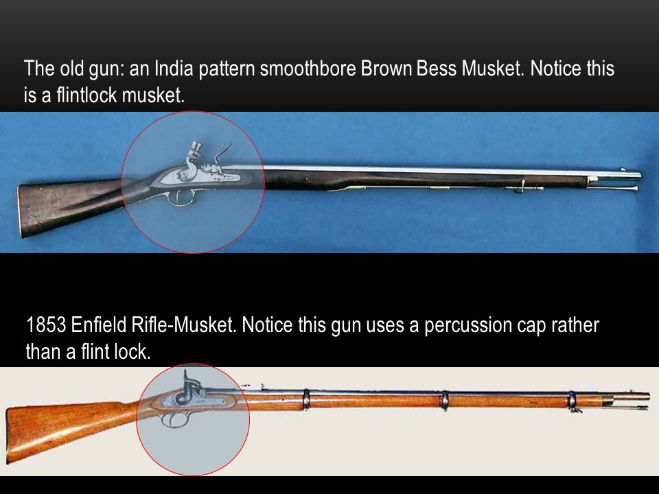 The old gun: an India pattern smoothbore Brown Bess Musket. Notice this is a flintlock musket. 1853 Enfield Rifle-Musket. Notice this gun uses a percu