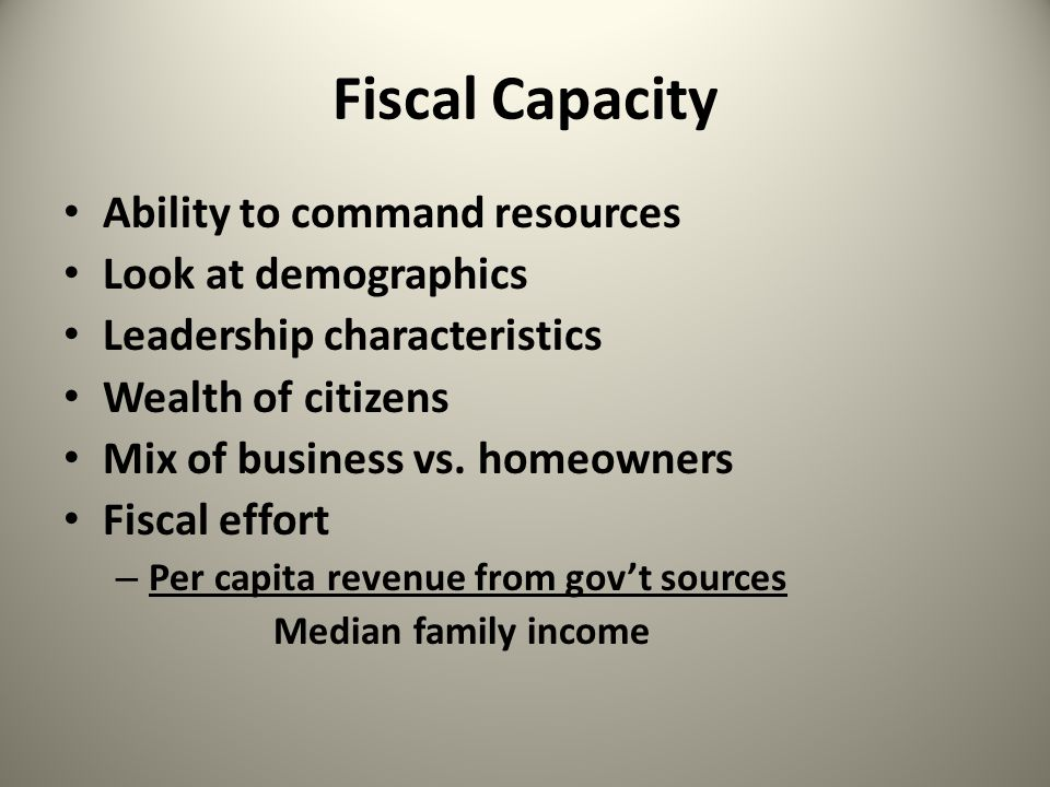 Financial Analysis Must always be compared to something – Prior years – Other similar governments – To rule of thumb measures Census – www.census.govwww.census.gov Economic Analysis – www.bea.doc.govwww.bea.doc.gov Labor Statistics – stats.bis.gov