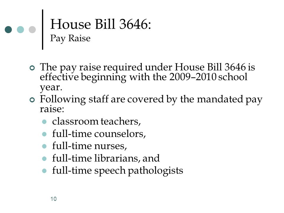 House Bill 3646: Pay Raise The pay raise required under House Bill 3646 is effective beginning with the 2009–2010 school year.