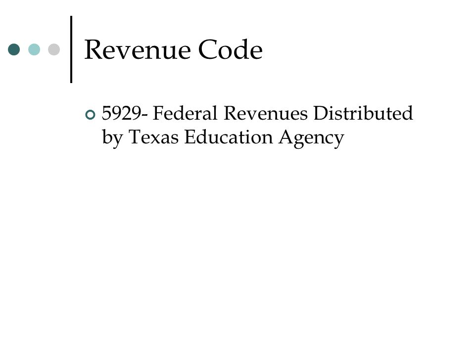 Revenue Code 5929- Federal Revenues Distributed by Texas Education Agency