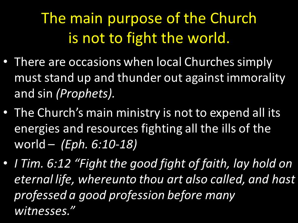 The main purpose of the Church is not to fight the world.