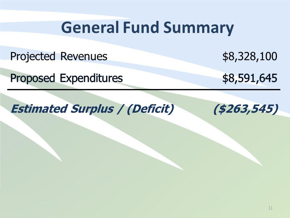 General Fund Summary 11 Projected Revenues$8,328,100 Estimated Surplus / (Deficit)($263,545)