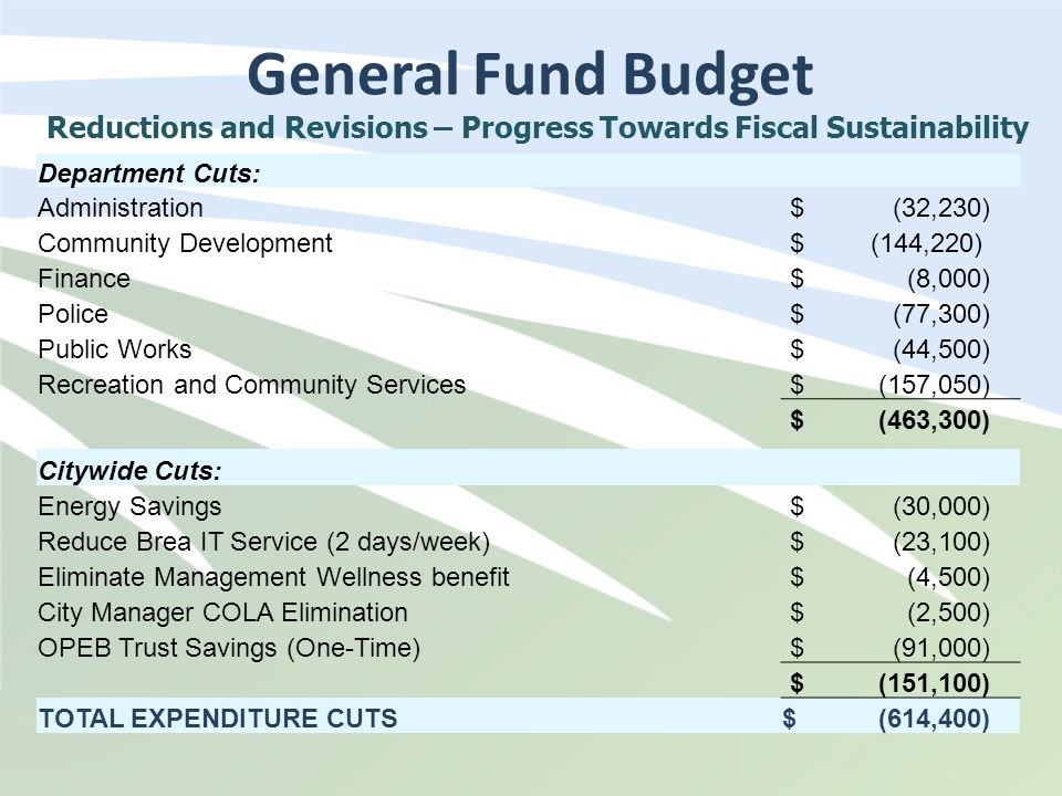 General Fund Budget Department Cuts: Administration $ (32,230) Community Development $ (144,220) Finance $ (8,000) Police $ (77,300) Public Works $ (44,500) Recreation and Community Services $ (157,050) $ (463,300) Citywide Cuts: Energy Savings $ (30,000) Reduce Brea IT Service (2 days/week) $ (23,100) Eliminate Management Wellness benefit $ (4,500) City Manager COLA Elimination $ (2,500) OPEB Trust Savings (One-Time) $ (91,000) $ (151,100) TOTAL EXPENDITURE CUTS$ (614,400) Reductions and Revisions – Progress Towards Fiscal Sustainability