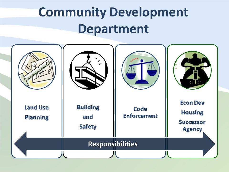 Community Development Department DIVISIONS Land Use PlanningBuildingandSafety Code Enforcement Econ Dev Housing Successor Agency Responsibilities
