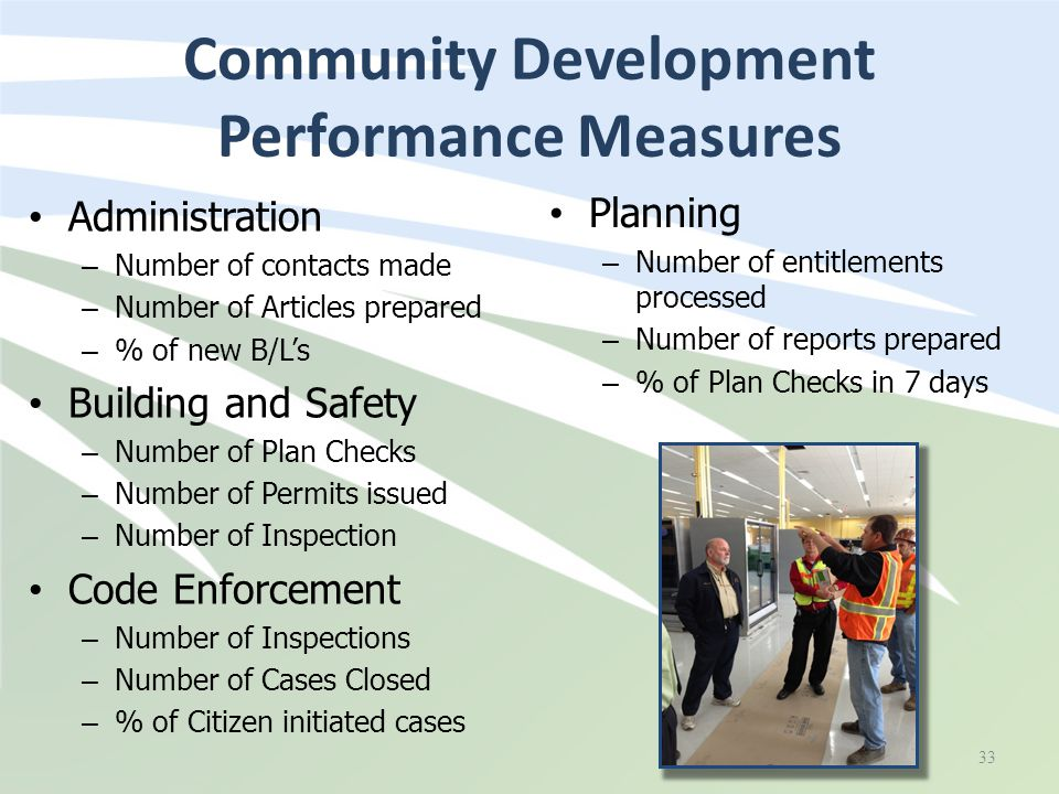 Community Development Performance Measures Administration – Number of contacts made – Number of Articles prepared – % of new B/L's Building and Safety
