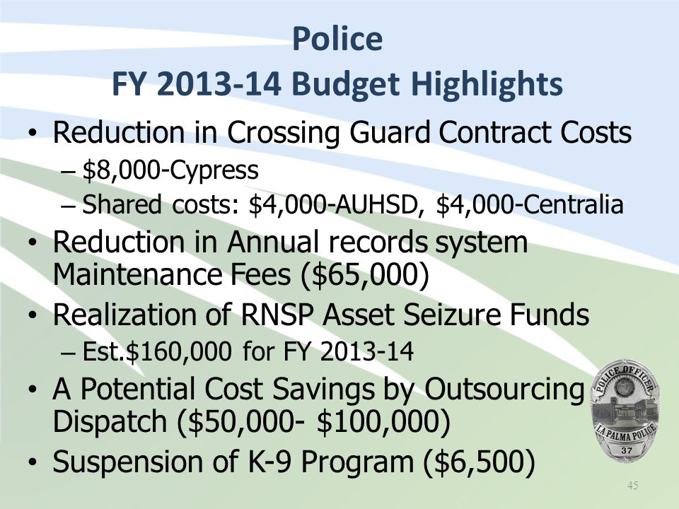 Reduction in Crossing Guard Contract Costs – $8,000-Cypress – Shared costs: $4,000-AUHSD, $4,000-Centralia Reduction in Annual records system Maintenance Fees ($65,000) Realization of RNSP Asset Seizure Funds – Est.$160,000 for FY 2013-14 A Potential Cost Savings by Outsourcing Dispatch ($50,000- $100,000) Suspension of K-9 Program ($6,500) Police FY 2013-14 Budget Highlights 45