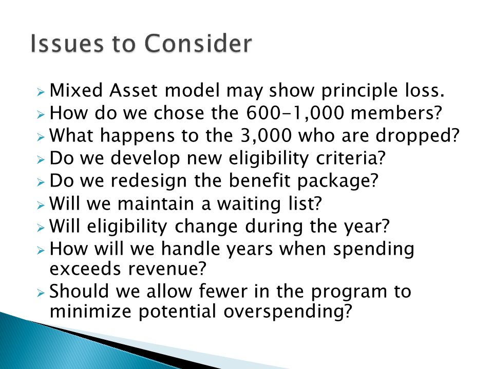  Mixed Asset model may show principle loss.  How do we chose the 600-1,000 members.