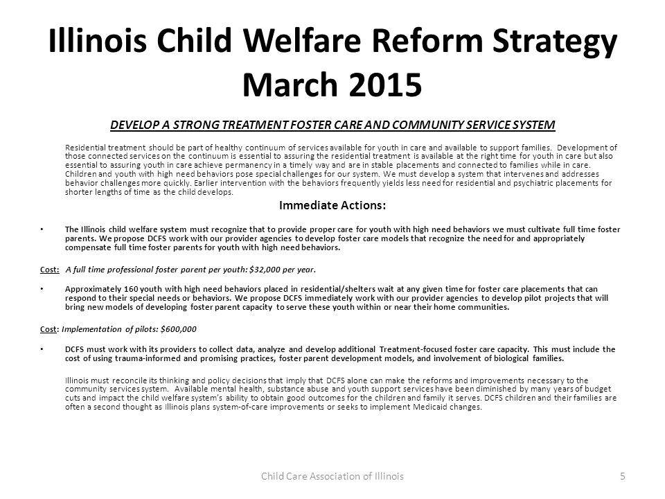 Illinois Child Welfare Reform Strategy March 2015 Reclaim Foster Parent Capacity to Provide Community and Family Connections for Youth in Care and To Be Part of a Treatment Team Illinois needs to recognize the work and commitment provided by foster parent throughout our system.