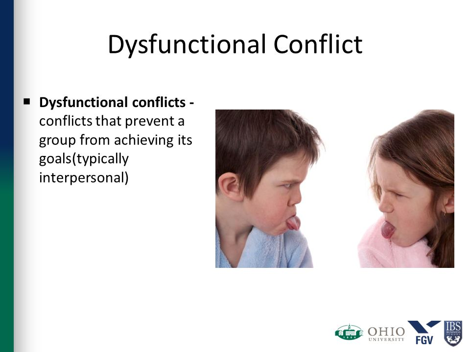Dysfunctional Conflict  Dysfunctional conflicts - conflicts that prevent a group from achieving its goals(typically interpersonal)
