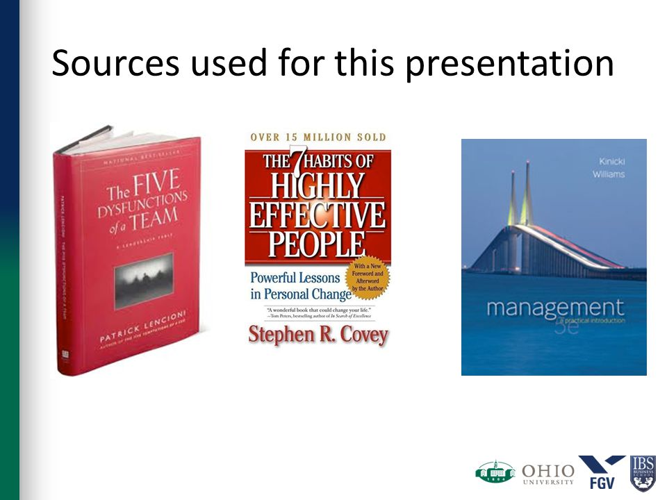 Sources used for this presentation