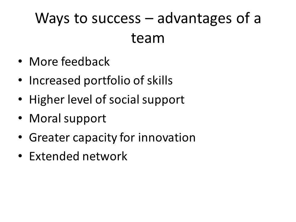Ways to success – advantages of a team More feedback Increased portfolio of skills Higher level of social support Moral support Greater capacity for i