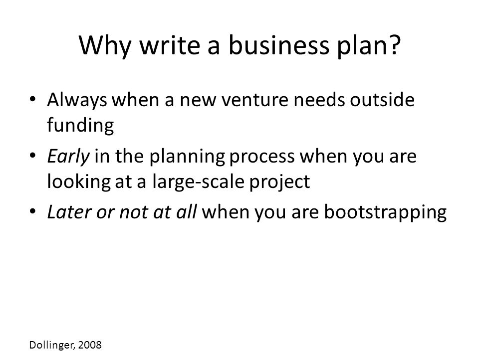 Why write a business plan.