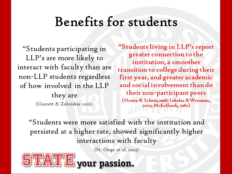 Benefits for students Students participating in LLP's are more likely to interact with faculty than are non-LLP students regardless of how involved in the LLP they are (Garrett & Zabriskie 2003) Students living in LLP's report greater connection to the institution, a smoother transition to college during their first year, and greater academic and social involvement than do their non-participant peers (Henry & Schein,1998; Inkelas &Weisman, 2003; McKelfresh, 1980) Students were more satisfied with the institution and persisted at a higher rate, showed significantly higher interactions with faculty (St.
