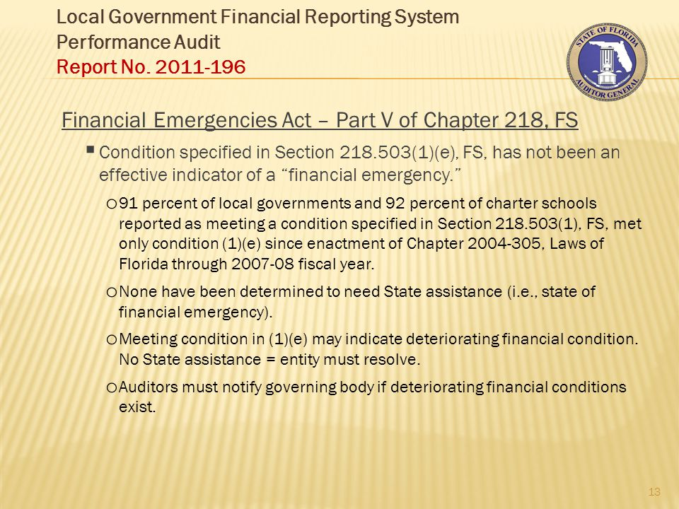Local Government Financial Reporting System Performance Audit Report No.