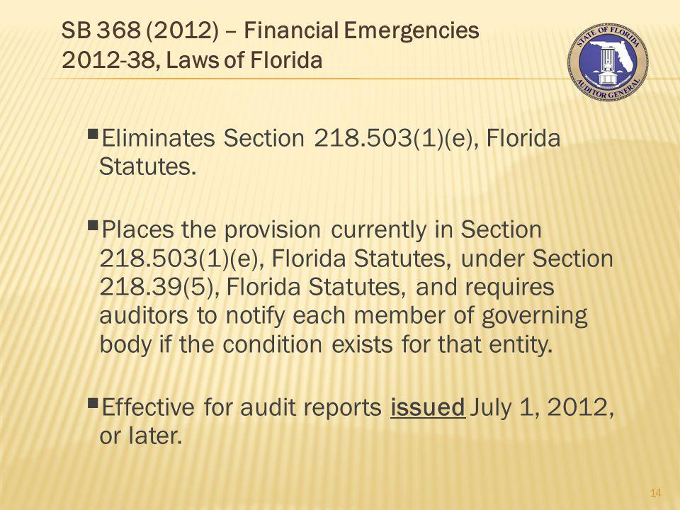 SB 368 (2012) – Financial Emergencies 2012-38, Laws of Florida 14  Eliminates Section 218.503(1)(e), Florida Statutes.