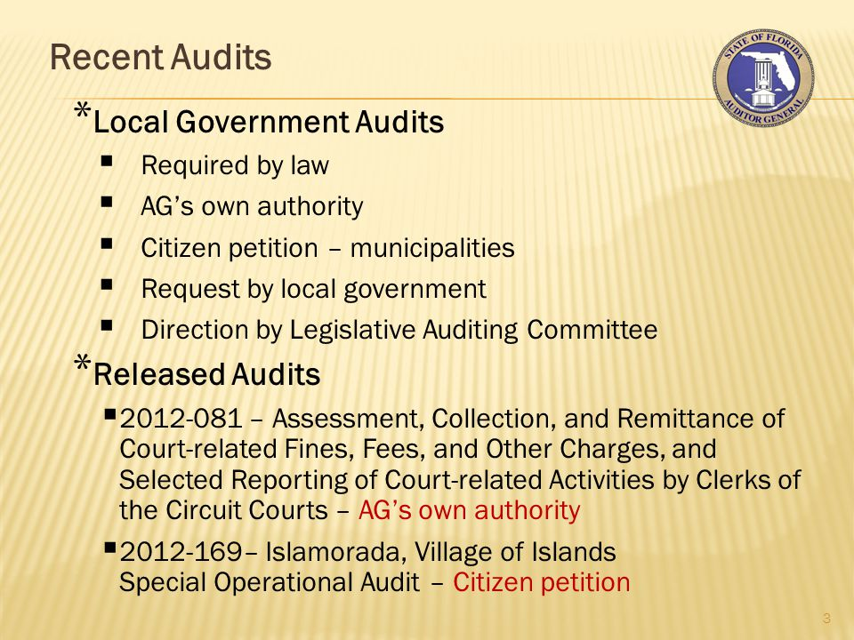 Recent Audits 4 * Audits in Progress  Follow-up on operational audit of Citrus County Hospital Board/Foundation – required by law  City of Lake Worth Sub-regional Sewer System Special Operational Audit – LG request  Northwest Florida Water Management District Operational Audit – required by law  St.