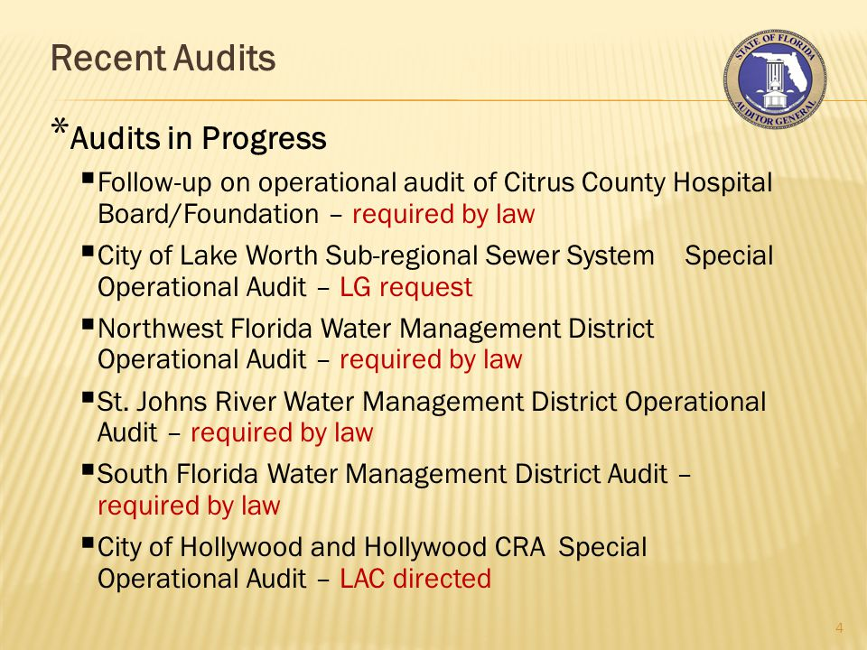 Recent Audits 4 * Audits in Progress  Follow-up on operational audit of Citrus County Hospital Board/Foundation – required by law  City of Lake Worth Sub-regional Sewer System Special Operational Audit – LG request  Northwest Florida Water Management District Operational Audit – required by law  St.
