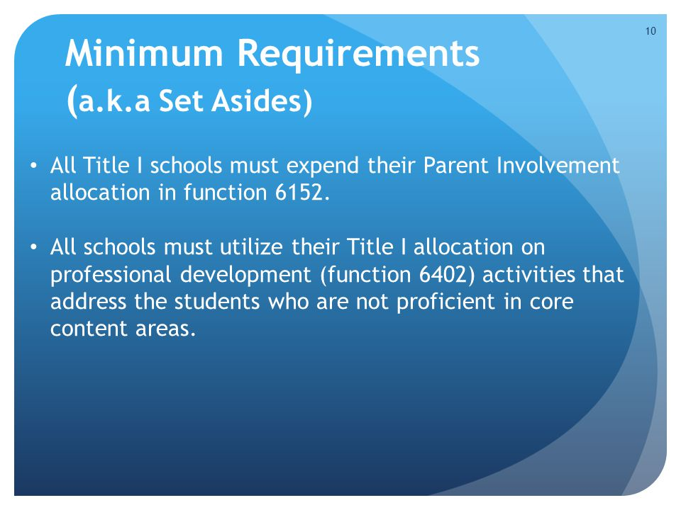 Minimum Requirements ( a.k.a Set Asides) All Title I schools must expend their Parent Involvement allocation in function 6152.