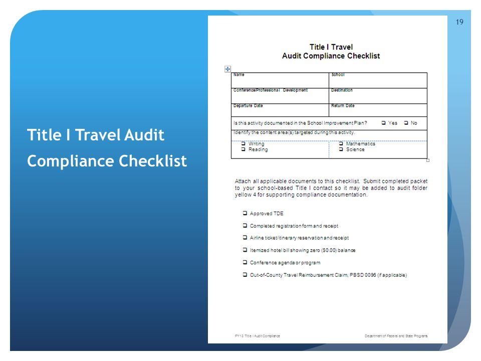 Title I Travel Audit Compliance Checklist 19