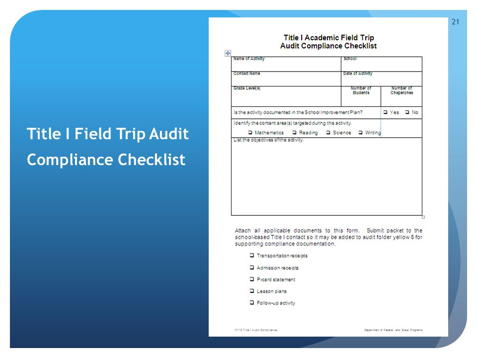 Title I Field Trip Audit Compliance Checklist 21