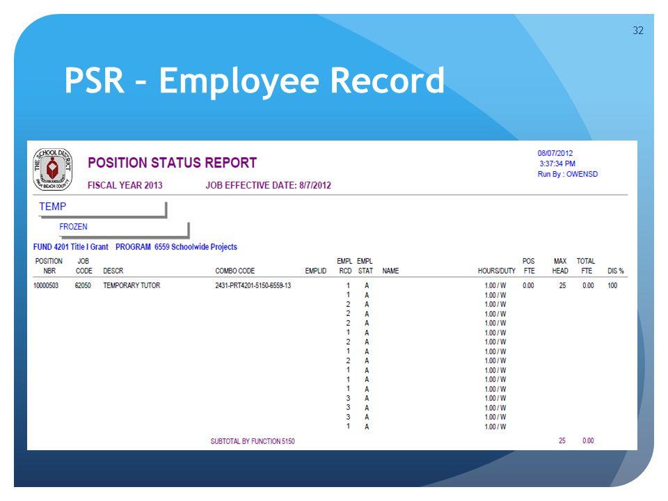 PSR – Employee Record 32
