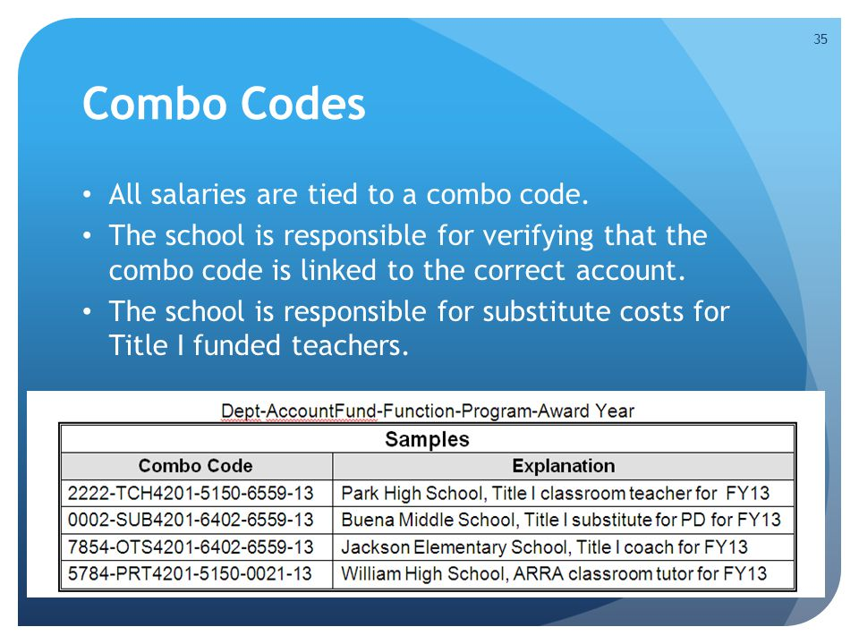 Combo Codes All salaries are tied to a combo code.