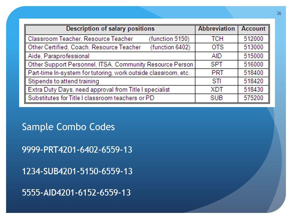 Sample Combo Codes 9999-PRT4201-6402-6559-13 1234-SUB4201-5150-6559-13 5555-AID4201-6152-6559-13 36