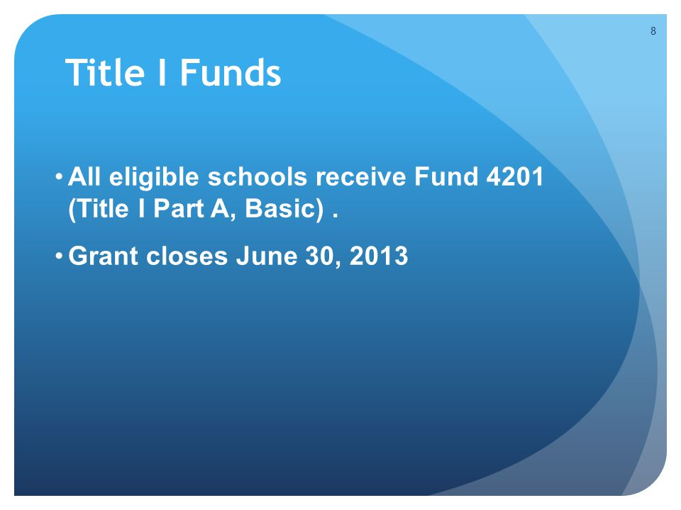 Title I Funds All eligible schools receive Fund 4201 (Title I Part A, Basic).