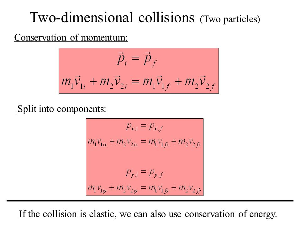 Two-dimensional collisions (Two particles) Conservation of momentum: Split into components: If the collision is elastic, we can also use conservation of energy.
