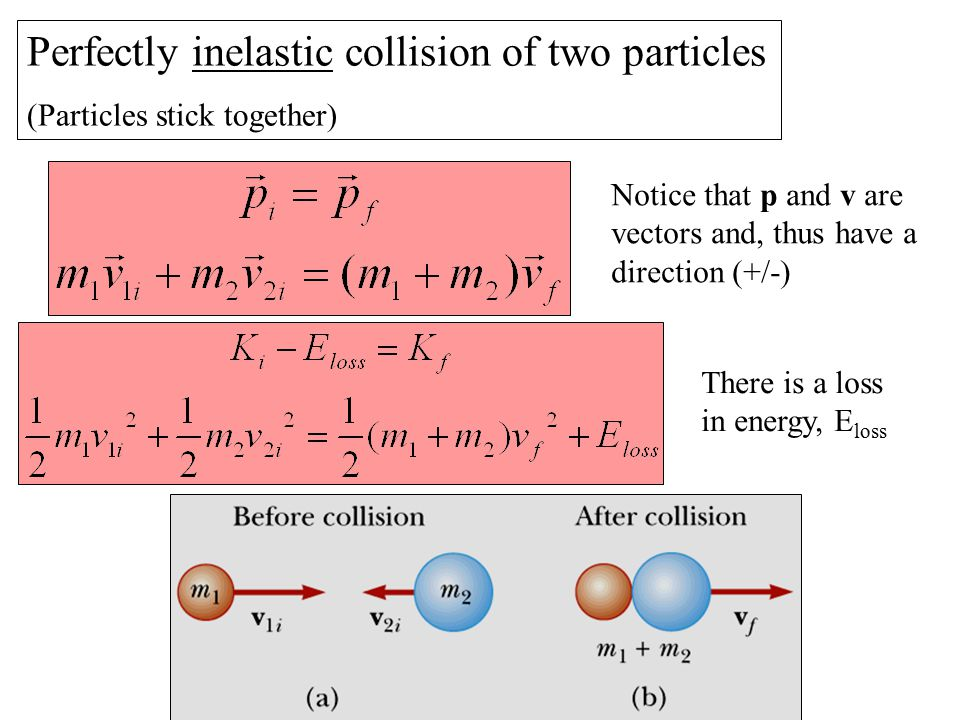 Perfectly inelastic collision of two particles (Particles stick together) Notice that p and v are vectors and, thus have a direction (+/-) There is a loss in energy, E loss