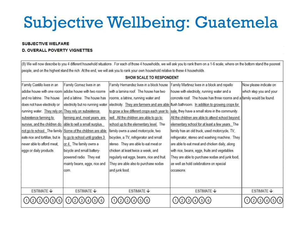 Subjective Wellbeing: Guatemela