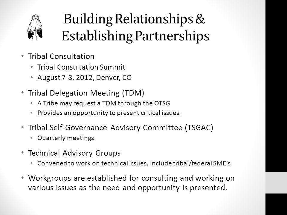 Building Relationships & Establishing Partnerships Tribal Consultation Tribal Consultation Summit August 7-8, 2012, Denver, CO Tribal Delegation Meeti