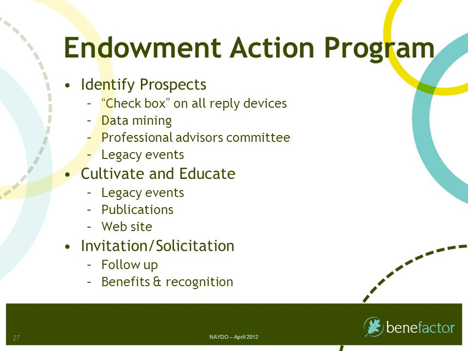 Endowment Action Program Identify Prospects – Check box on all reply devices –Data mining –Professional advisors committee –Legacy events Cultivate and Educate –Legacy events –Publications –Web site Invitation/Solicitation –Follow up –Benefits & recognition NAYDO – April 2012 27