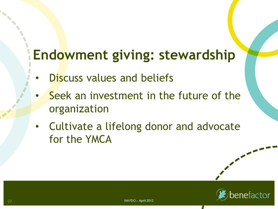Endowment giving: stewardship Discuss values and beliefs Seek an investment in the future of the organization Cultivate a lifelong donor and advocate for the YMCA 29 NAYDO – April 2012