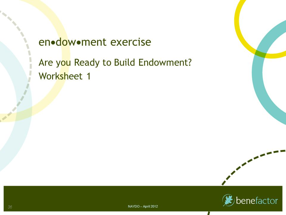 en  dow  ment exercise Are you Ready to Build Endowment? Worksheet 1 NAYDO – April 2012 36