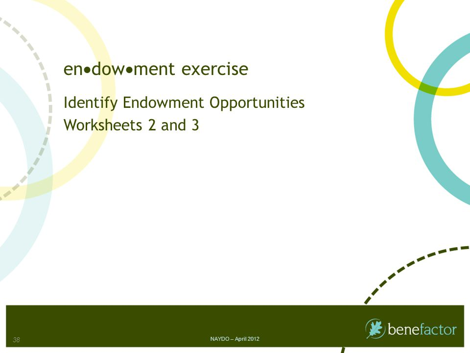 en  dow  ment exercise Identify Endowment Opportunities Worksheets 2 and 3 NAYDO – April 2012 38
