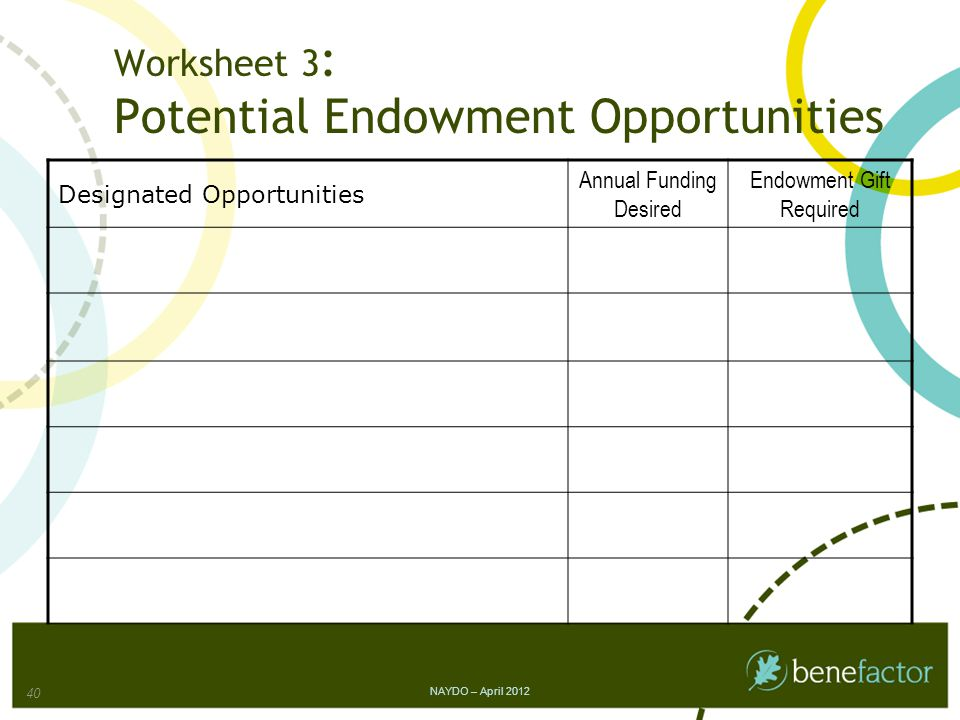 Worksheet 3 : Potential Endowment Opportunities Designated Opportunities Annual Funding Desired Endowment Gift Required NAYDO – April 2012 40