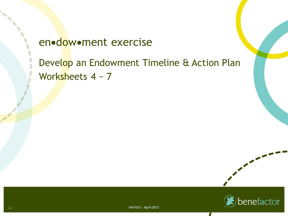 en  dow  ment exercise Develop an Endowment Timeline & Action Plan Worksheets 4 − 7 NAYDO – April 2012 44