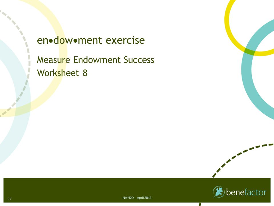 en  dow  ment exercise Measure Endowment Success Worksheet 8 NAYDO – April 2012 49