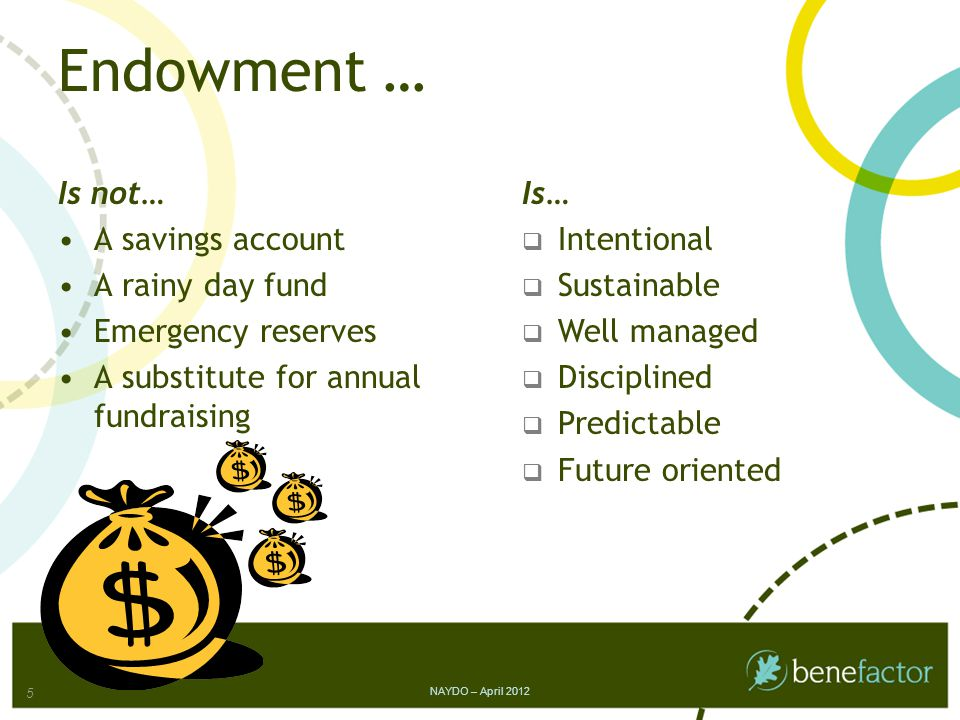 Step 2 Case for Support Endowment Products NAYDO – April 2012 16