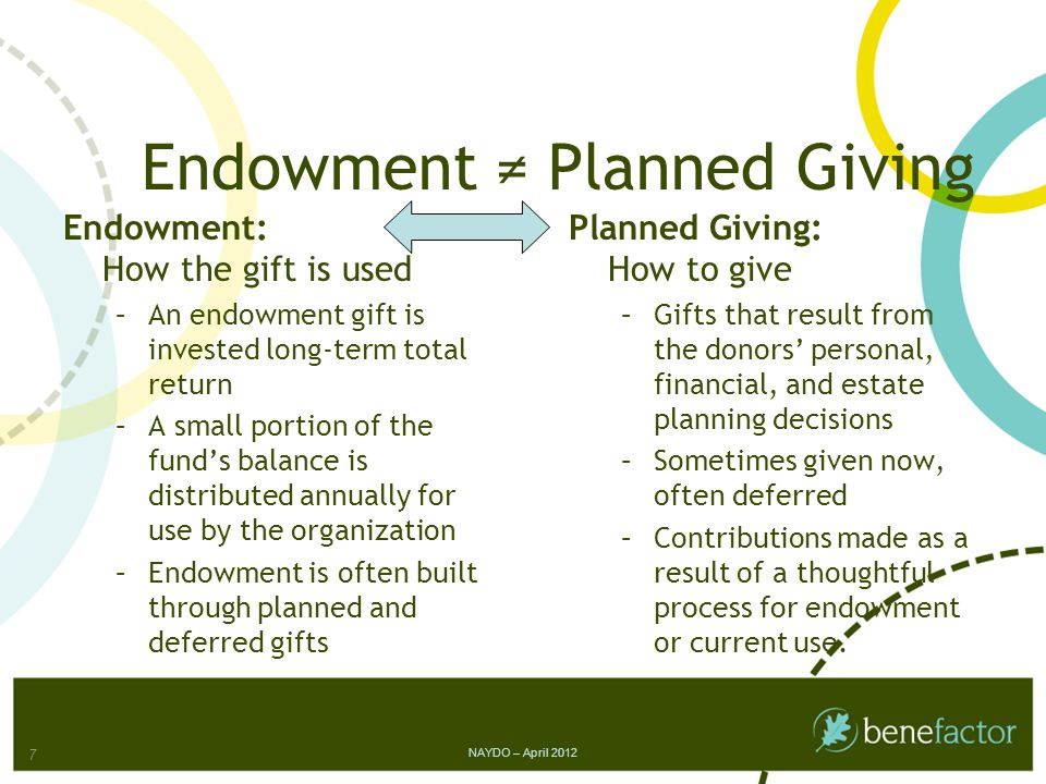 Worksheet 7: Budget for Endowment Action Program BudgetActual Endowment Director -.5 FTE Administrative Assistant -.5 FTE Marketing Materials Professional Advisor Lunches Prospective Donor Cultivation Legacy Society Event Website Update TOTAL NAYDO – April 2012