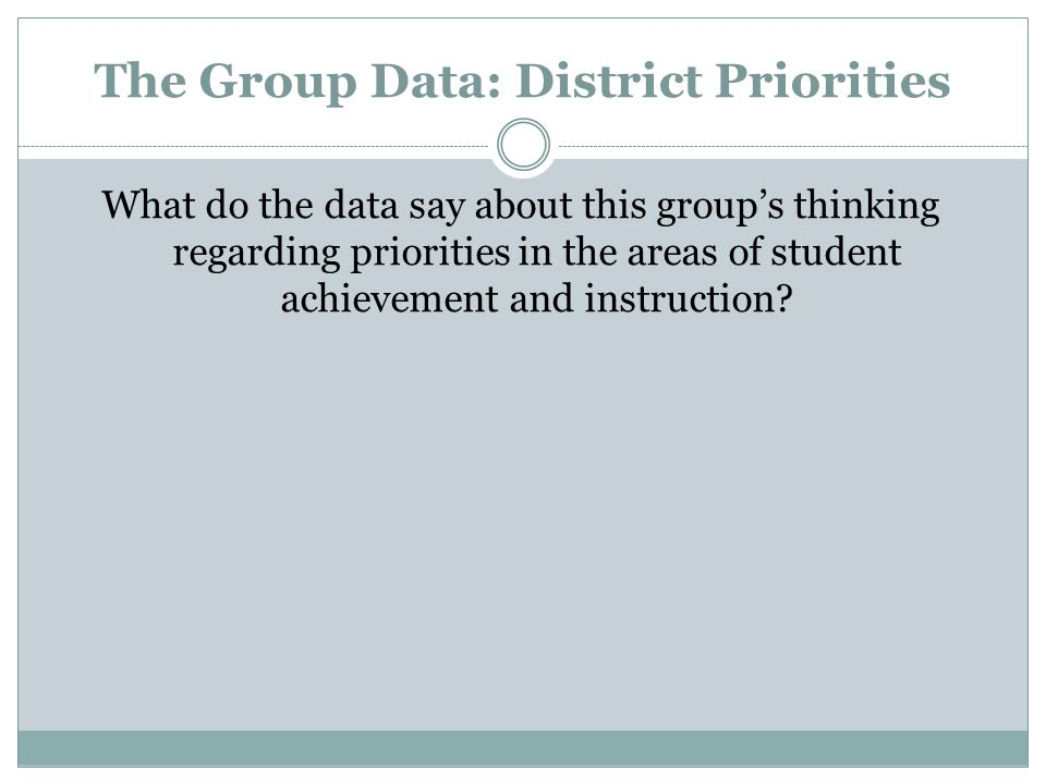 The Group Data: District Priorities What do the data say about this group's thinking regarding priorities in the areas of student achievement and instruction