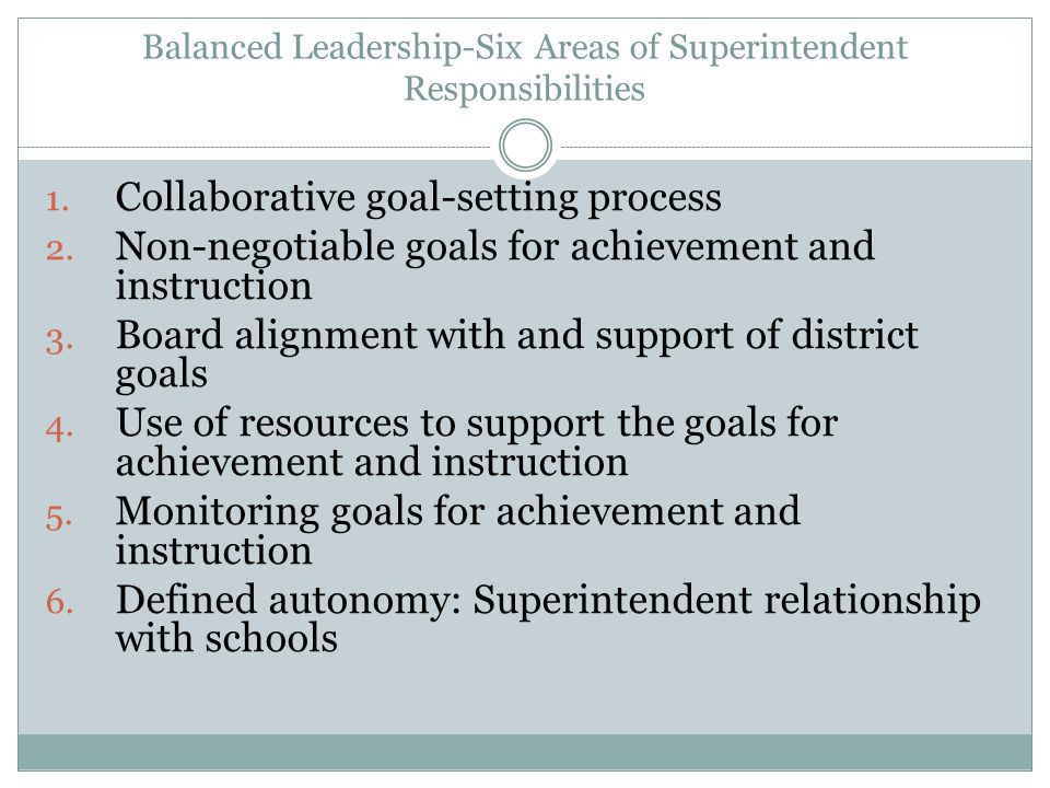 Balanced Leadership-Six Areas of Superintendent Responsibilities 1.