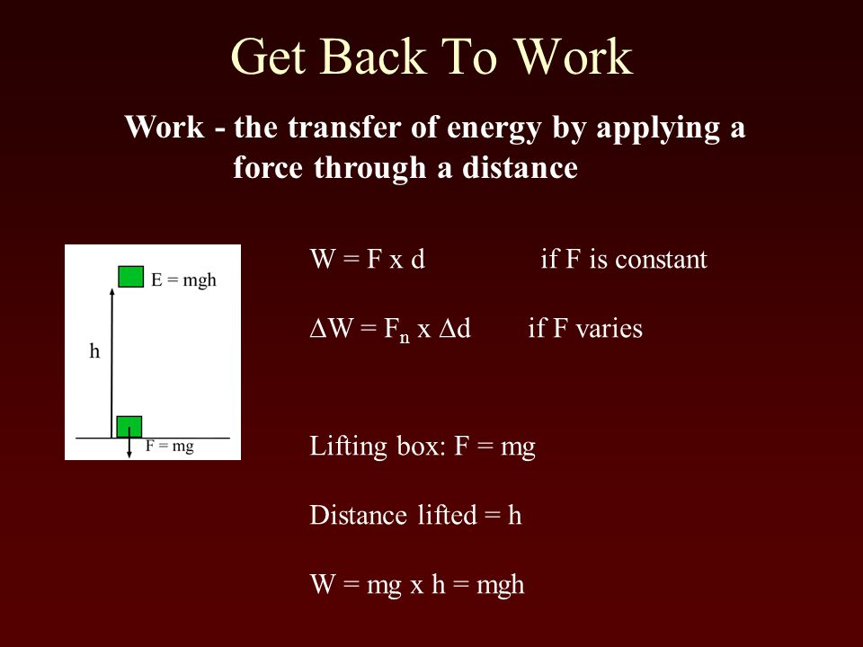 Get Back To Work Work - the transfer of energy by applying a force through a distance W = F x d if F is constant  W = F n x  d if F varies Lifting box: F = mg Distance lifted = h W = mg x h = mgh