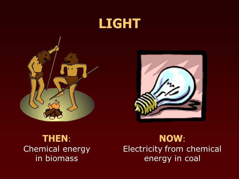 THEN : Chemical energy in biomass NOW : Electricity from chemical energy in coal LIGHT
